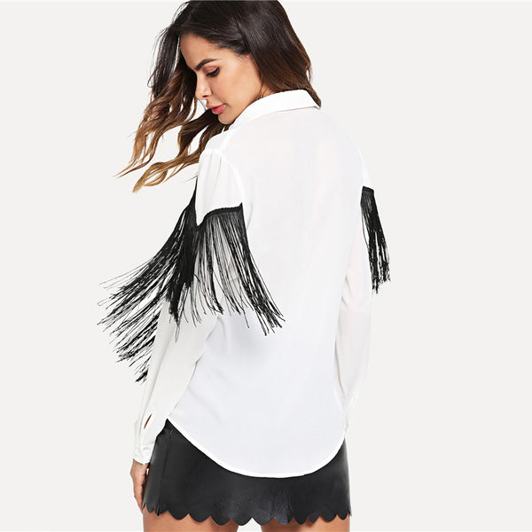 two tone fringed shirt