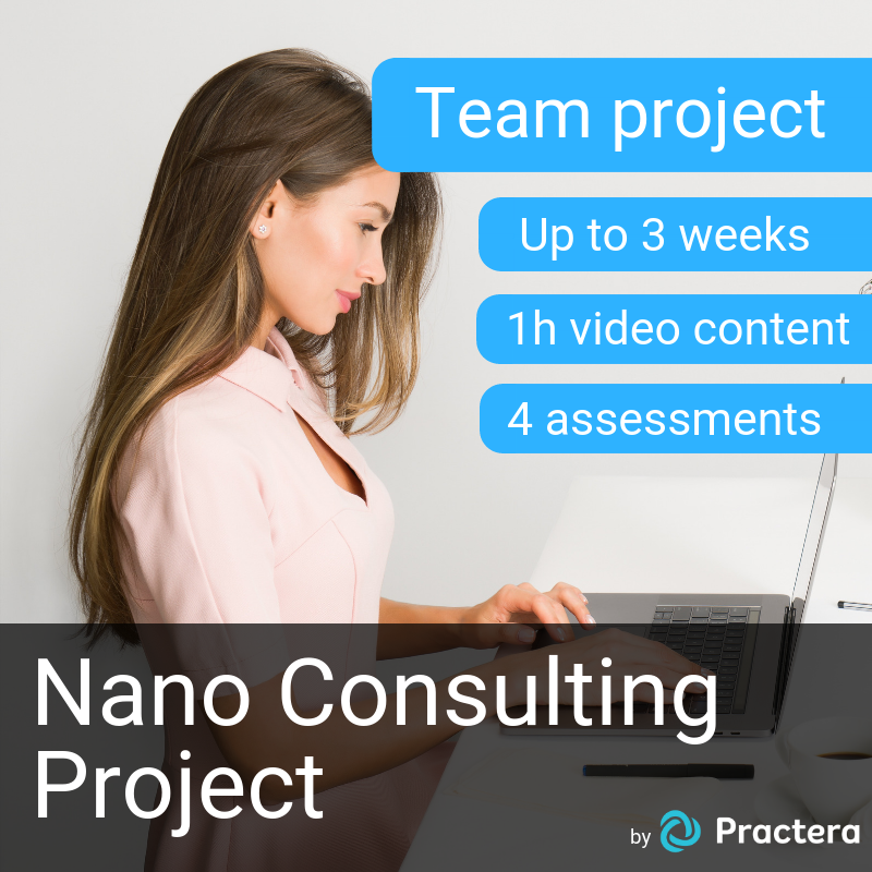 Nano Consulting Project (Up to 3 weeks, 2 hours video content, 4 assessments)