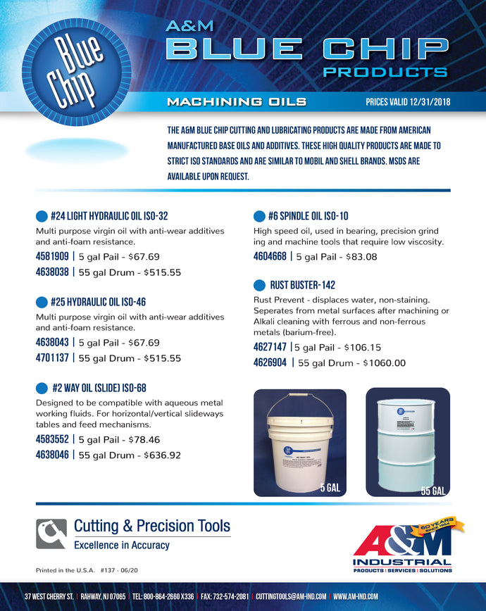 A&M Blue Chip Machining Oils