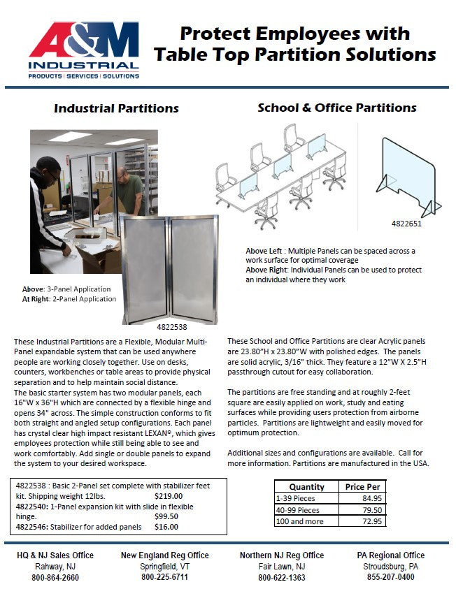 Protect Employees with Table Top Partition Solutions