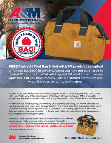 FREE Carhartt Tool Bag filled with 3M product samples!