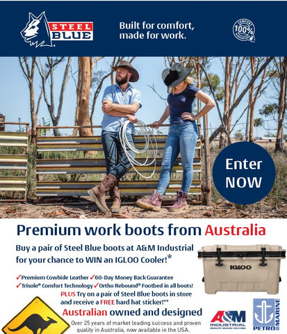 Buy a pair of Steel Blue boots at A&M Industrial for your chance to WIN an IGLOO Cooler!*