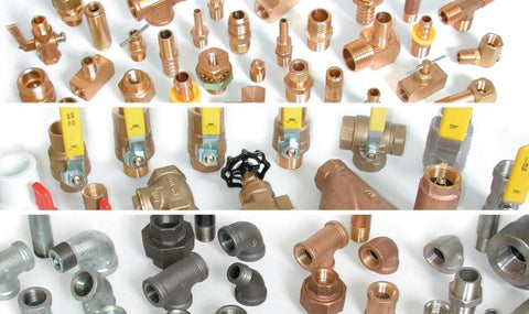 Fittings Brass, Bronze, Iron, Stainless Steel welded, compression, threaded, barbed, crimp-lock, push-on