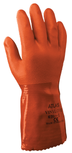 "Atlas PVC Glove, 12"" Length, Double-Dipped on Seamless Knit Liner, Rough Orange Finish (620)"