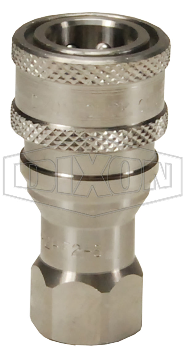 Dixon 8HF8-S DQC H-Series ISO-B Poppet Valve Female Threaded Coupler