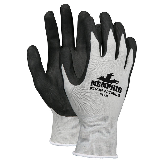 Memphis 9673 Foam Nitrile Dripped Gloves - 13 Gauge Nylon Shell - Gray