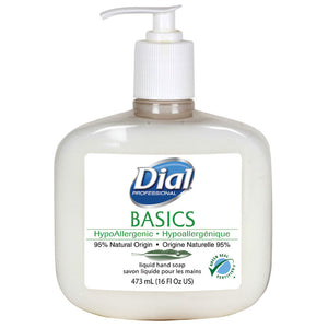Dial Basics Hypoallergenic Liquid Hand Soap, 16 oz. Pump Bottles, 12 Bottles/Case