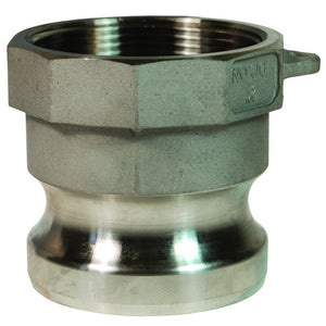 "DIXON Cam & Groove Type A Adapter x Female NPT; 316 Stainless Steel, 1"" - 3"""