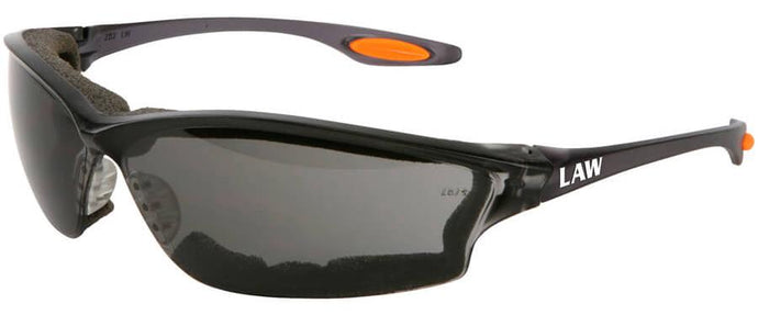 Gray Crews Law 3 Safety Glasses with Anti-Fog Lens and Foam Seal