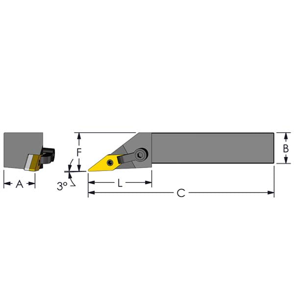 UltradexUSA MVJNR 20-4D Square Shank Tool Holder