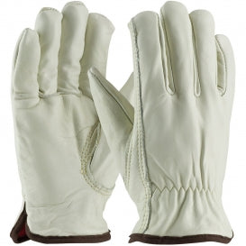 Red Lined Grain Leather Driver's Glove, Unlined with Keystone Thumb (77-268)