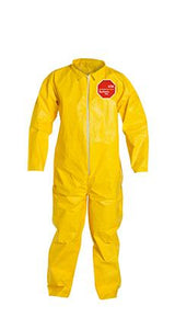Dupont Tychem 2000 Yellow Polyethylene Coverall, Collar, Open Wrists and Ankles. Yellow (QC120SYL)
