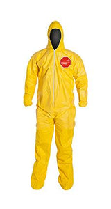 Dupont Tychem 2000 Yellow Polyethylene Coverall, Standard Fit Hood. Elastic Wrists. Attached Socks. Yellow (QC122SYL)