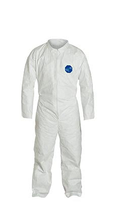 DuPont Tyvek 400 Coverall, Collar, Open Wrists and Ankles, Elastic Waist, White. (TY120SWH)