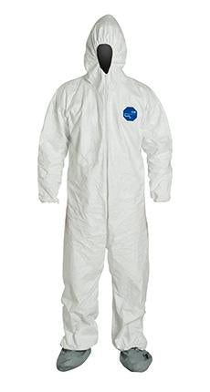 DuPont Tyvek 400 Coverall, Comfort Fit Design, Respirator Fit Hood, Elastic Wrists, Attached Skid-Resistant Boots, Elastic Waist. White (TY122SWH)