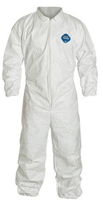 DuPont™ Tyvek® 400 Coverall. Comfort Fit Design. Collar. Elastic Wrists and Ankles. Elastic Waist. Serged Seams. White. (TY125SWH)