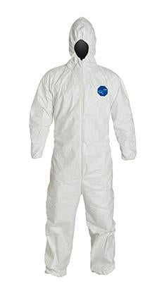 DuPont Tyvek 400 Coverall, Comfort Fit Design, Respirator Fit Hood, Elastic Wrists and Ankles, Elastic Waist, White (TY127SWH)