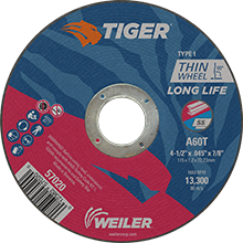 Weiler Long Life High Performance Tiger Cutting Wheels 57020/57022/57041
