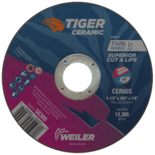 Weiler Superior Life & Cut Rate High Performance Tiger Cutting Wheels 58300/58305