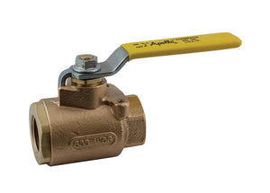 "APOLLO VALVES 77-103-01 Bronze, Full Port, 2-Piece, NPT Ball Valve, 1/2"" FPT Teflon Seals"