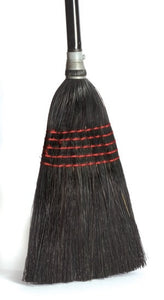 "Janitor Corn Broom, Corn and Grass Mix, 5 Sews, Black Painted, 17"" Trim, 1-1/8"" Dia. Handle (08527)"