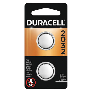 DURACELL Coin Cell Battery, ANSI, Lithium, 3VDC, 2032