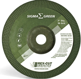 "REXCUT 730004 7"" X 5/8-11 36 GRIT T-27, 'SIGMA GREEN' GRINDING WHEEL, (PACKED 10 PER BOX)"