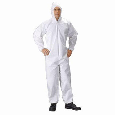 Lakeland MicroMax Coverall, White with Zipper Closure and Attached Hood (TG428)