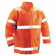 Comfort Brite HI-VIS Fluorescent Orange Rain Jacket, Attached Hood, Flame Resistant, Tingley (J53129)