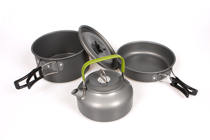 Portable Aluminum Camping Pot Pan Kettle Set