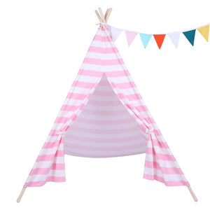 Children Indoor 100% Cotton Teepee Tent Baby with Small Coloured Flags - Pink and White Stripes