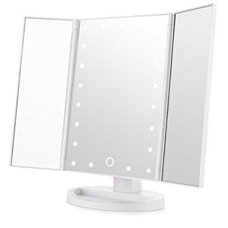 3 Panel Folding Mirror with USB - White ⚪️
