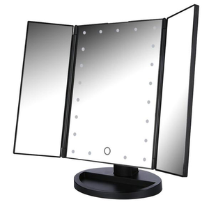 3 Panel Folding Mirror with USB - Black ⚫️