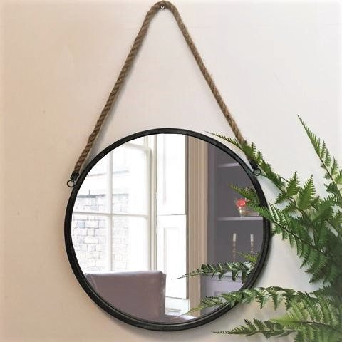 Black Metal Round Cruise Mirror