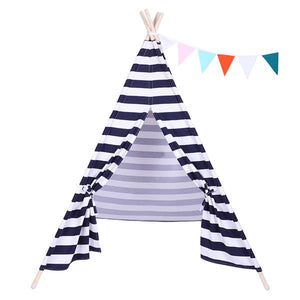 Children Indoor 100% Cotton Teepee Tent Baby with Small Coloured Flags - Blue and White Stripes