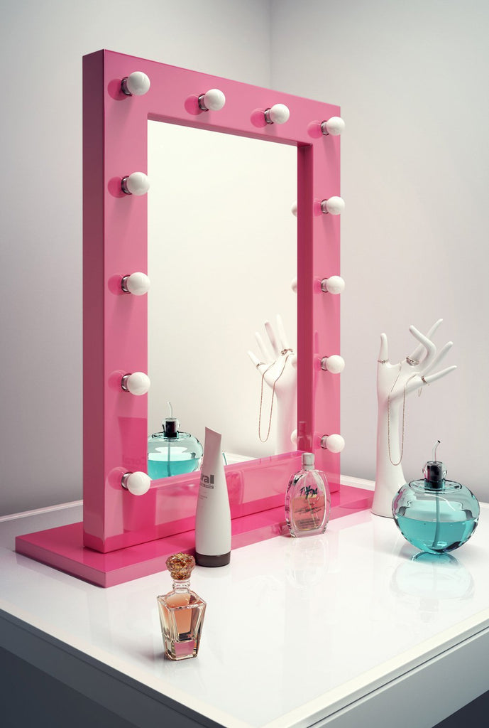 Hollywood Lighted Makeup Vanity Mirror With LED Lights - Pink