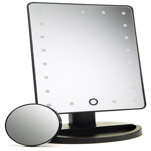 Touch Screen Makeup Mirror with 24 LED Lights and detachable 10X magnification   - Black ⚫️