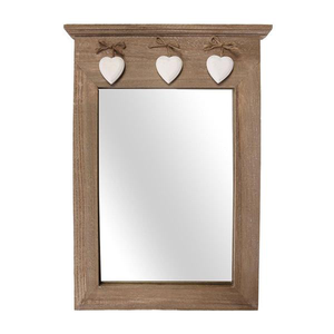Vintage Wood Mirror with Hanging Hearts
