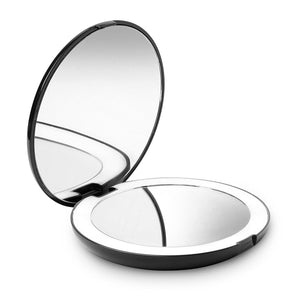 LED Lighted Travel Makeup Mirror, 1X/10X Magnification