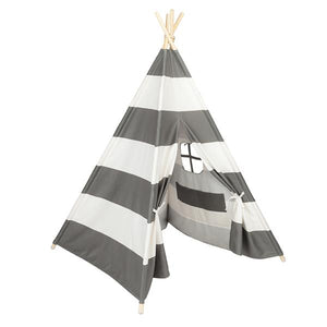Children's Indoor 4pcs Wooden Pole Teepee Tent - Grey and White Stripes