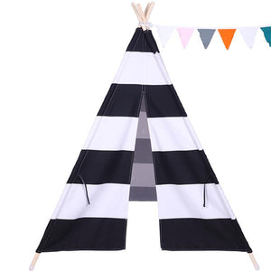 Children Indoor 100% Cotton Teepee Tent Baby with Small Coloured Flags - Black and White Stripes