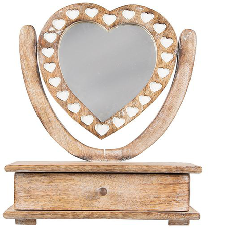 Wooden Petit Mirror Heart Dressing Table with Drawer