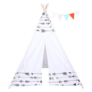 Children Indoor 100% Cotton Teepee Tent Baby with Small Coloured Flags - White with Arrows