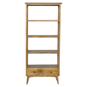 Solid Wood Bookcase with 2 Drawers & 4 Shelves