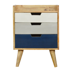 Navy Gradient 3 Drawer Hand-painted Bedside
