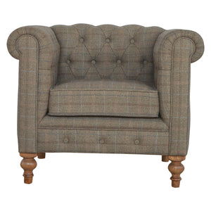 Chesterfield Single Seater Tweed Arm chair