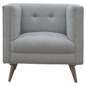 Nordic Style Armchair in Grey Tweed