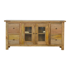 Country Style Media Unit with 4 Drawers and 2 Glazed Doors