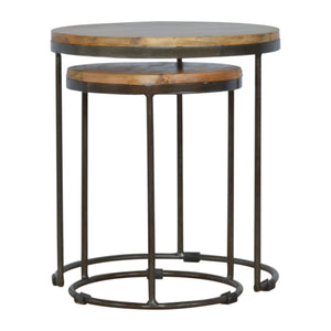 Round Stool Set of 2 with Iron Base