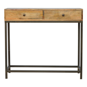 2 Drawer Console Table with Iron Base